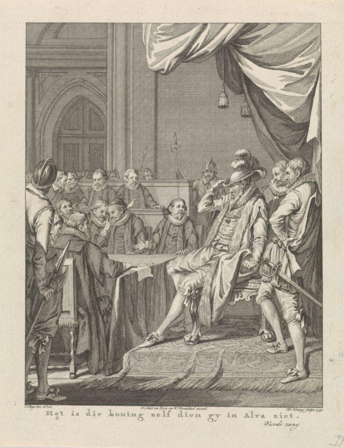 1569: Alva eist de Tiende Penning op. Theodoor Koning, naar Jacobus Buys, 1779 (Rijksmuseum).